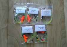 5 x mixed running ledger sea fishing rigs Aberdeen hooks good for cod bass etc