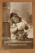 Vintage Postcard: To Merrily Greet Your Christmastide, Young Girl, Mistletoe
