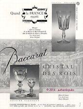 PUBLICITE BACCARAT CRISTAL DES ROIS SERVICE HARCOURT VERRE DE 1957 FRENCH AD PUB