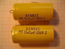 2x 15µF 15uF 5% 250V axial Bennic MT Folienkondensator Frequenzweiche