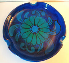 Vintage Mid Century Cobalt Blue Ceramic Large Round Cigar Ashtray