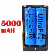2PCS UltraFire 3.7v Li-ion 18650 Battery 5000mAH Rechargeable Battery + Charger