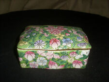 Antique Chinese Famille Verte Green Porcelain Box
