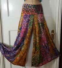 Ladies Printed Palazzo Trouser Summer Wide Leg Pants Lightweight free size 8-14