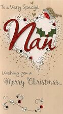 Special Nan Embellished Christmas Card Hand-Finished Champagne Range Cards