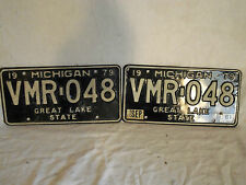 Used 1979 Michigan license plates VMR 048