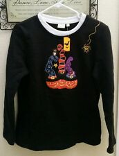 Pumpkin Witches Long Sleeve Embroider & Sequin HALLOWEEN Sweatshirt Top Med NWT