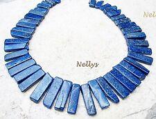 LAPISLAZULI Edelsteine Perlen leuchtend blau gestaffelte Rechtecke Strang NELLYS