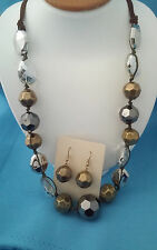 VERY NICE LARGE ANTIQUE GOLD AND FACETED CRYSTAL NECKLACE EARRINGS SET