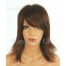 FULL SHORT WOMENS LADIES FASHION HAIR WIG  BROWN MIX FLICKED SHOULDER LENGTH UK