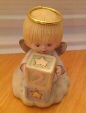 """COMMEMORATIVE 2ND BIRTHDAY ANGEL WITH BLESSING INSCRIPTION BISQUE PORCELAIN 3.5"""""""