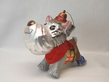 Schnauzer Dog Cowboy Outfit Glass Christmas Tree Ornament 4 1/2In String to hang