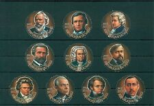 Composers Classical Music Mozart Bach Verdi Debussy Mali 10 MNH round stamps set