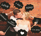 DIY Photo Booth Prop Wedding Birthday Party Black Card Chalkboard Stick 10 Pcs