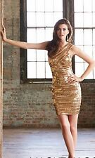 NWT Size 6 GOLD Madison James 15137 sequins short formal HOLIDAY dress