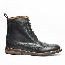 Mens Real Genuine Leather Lace Brogues Ankle Boots Formal (Black & Tan)