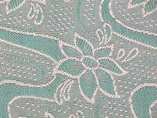 "VINTAGE+NEW 1960'S RAYON LT GREEN BROCADE FABRIC 46"" WIDE X 3.7 METERS"