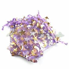 50pcs Golden Moon Star Purple Organza Gift Package Bags Wedding Favors 7*9cm FW