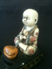 PEACEFUL POLISHED RESIN CHILD BUDDHA INCENSE HOLDER 285mm LONG x 60mm WIDE