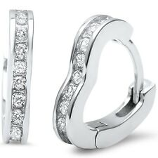 Petite Heart Shaped .925 Sterling Silver Hoop Huggie Earrings