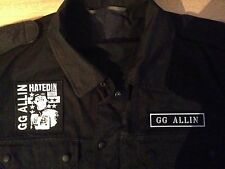 GG Allin Punk Army Black Camouflage Shirt Jacket Hated In Nation Murder Junkies