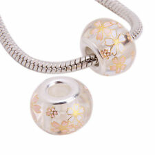 1 x Flower Print Lampwork Glass clear gold white  Charm Bead fr04