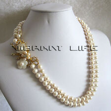 "20-21"" 8-9mm White 2Row Freshwater Pearl Necklace MG Fashion Jewelry U"