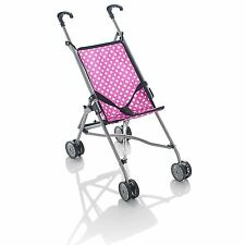 Kids Girls Pink Buggy Pram 4 Wheeler Pushchair Doll Stroller Childrens Toy Gift