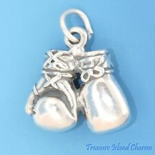 HEAVY BOXING GLOVES 3D .925 SOLID Sterling Silver Charm