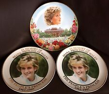 "3 Official Diana Princess of Wales 8"" Bone China Commemoration Plates"
