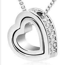SILVER ALLOY MEXICAN SILVER JEWELLED DOUBLE HEART SHAPE PENDANT (N18) + MORE
