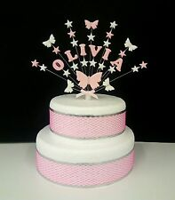 Personalised Butterfly  and  star  birthday, christening cake topper, decoration