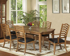 NEW 7PC MAUDE MEDIUM MAPLE FINISH WOOD DINING TABLE SET w/ CHAIRS