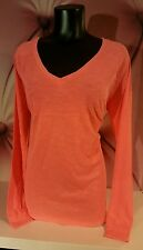 Victorias Secret PINK Slouchy V-Neck Long Sleeve Tee Shirt Neon Coral L Large