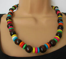 Tribal wood brown necklace with rainbow coloured beads  ethnic boho & gift bag
