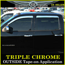 2015-2016 SILVERADO 2500 3500 Crew Cab Chrome Door Visors Window Rain Vent Guard