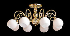 "Ceiling Mount Fixture with Light Pink Glass, 8 Lights Gold Finish (D27"" x H12"")"