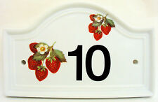 Strawberries House Door Number Plaque Ceramic Wild Strawberry Sign Any Number