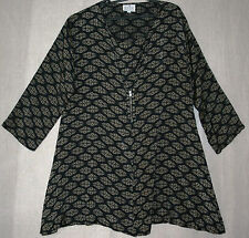 """MASAI XL tunic top black-with-beige-print 44"""" bust VGC zip QUIRKY long sleeves"""