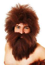 Brown Caveman Wig & Beard Set - Caveman Fancy Dress - New