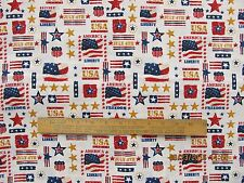 Fabric 1 Yard Red White Blue Patriotic Stars Flags July 4th USA Stripes Quilting