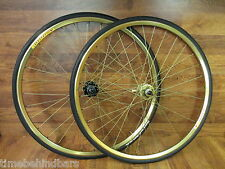RARE FRM 10 SPEED SHIMANO 700 GOLD ANODIZED VELOCITY DISC CLINCHER WHEELSET TIRE