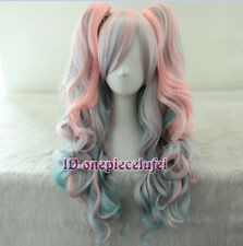 70cm long pink mixed blue rainbow Lolita wig clip on ponytail wave cosplay wig