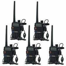 5 Pack BaoFeng UV-5R 136-174/400-520 MHz Dual-Band Two Way Radio Walkie Talkie