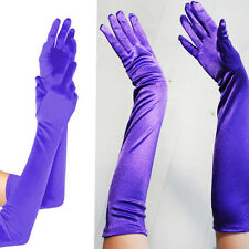 Purple Long Satin Stretch Gloves Elbow Bridal Prom Opera Wedding Formal Party OS