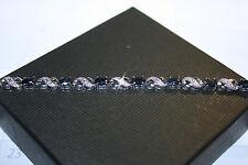 Natural Sapphire Gemstones Diamond XO Tennis Bracelet 14K White Gold Over Base