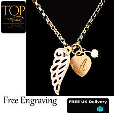 Heart Guardian Angel Wing Personalised Engraved Name Necklace Gold Plated Gift