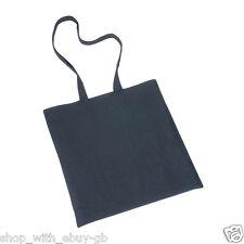 10 PLAIN ECO BLACK COTTON SHOPPING SHOULDER TOTE BAGS
