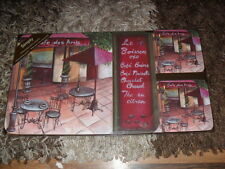 Cafe Des Amis Table Place Mats and Coaster Set BNIB