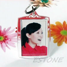 10Pc Clear Transparent Acrylic Blank Photo Picture Frame Round Key Ring Keychain